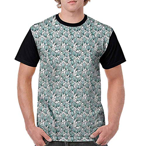 BlountDecor Cotton T-Shirt,Doodle Garden Plants Fashion Personality Customization