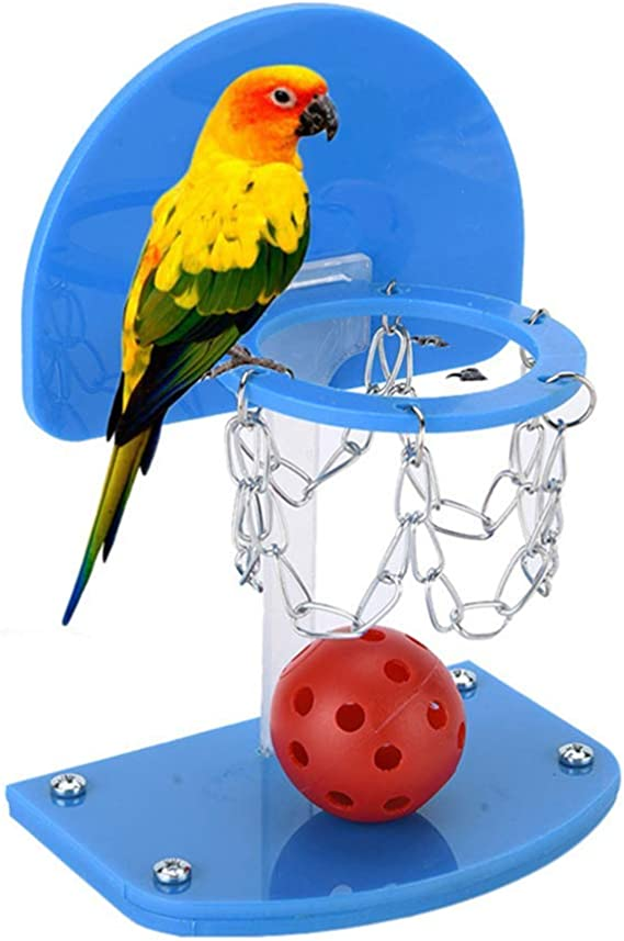UEETEK Birdie Basketball Bird Toy Mini Basketball Hoop Toy Set Educational Developmental Toy with Chew Balls for Bird Parrot Macaw