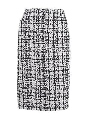 Kasper Women's Plaid Jacquard Pencil Skirt (8, Ivory/Black)