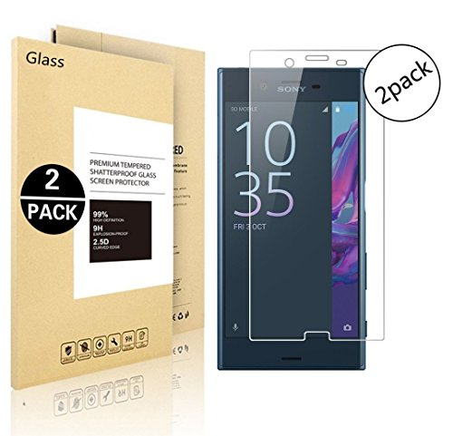 Price comparison product image Sony Xperia XZ Premium Screen Protector, Vigeer [ 2 Pack ] [0.3mm, 2.5D] [Bubble-Free] [9H Hardness] [Easy Installation] [HD Clear] Tempered Glass Screen Protector for Sony Xperia XZ Premium