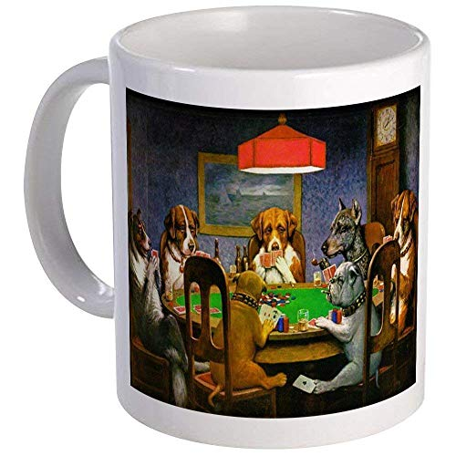 Dogs Playing Poker Mug - Ceramic 11oz Coffee/Tea Cup Gift Stocking Stuffer