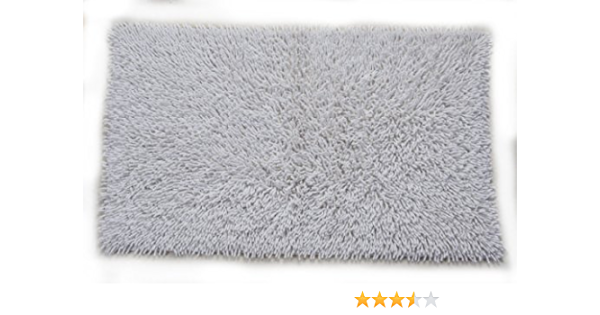 Castle Hill 100 Cotton Chenille Shaggy Bath Rug With Spray Latex Backing 20x30 White Home Kitchen