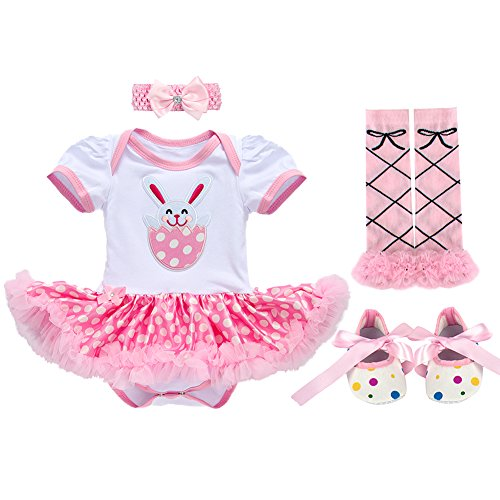 OBEEII My First Easter Bunny Egg Baby Girl Romper Tutu Dress Headband Leg Warmers Shoes Outfits -
