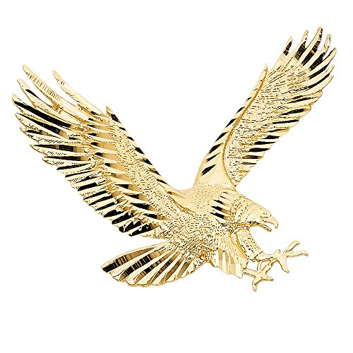 Solid 14k Yellow Gold Big Eagle Pendant Bird Charm Diamond Cut Polished Design Large 35 x 45 (Yellow Gold Bird Charm)