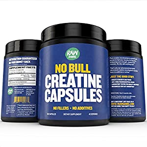 Raw Barrel's Pure Creatine Monohydrate Capsules 240 micronized pills 700mg SEE RESULTS OR YOUR MONEY BACK With *FREE* Digital Guide
