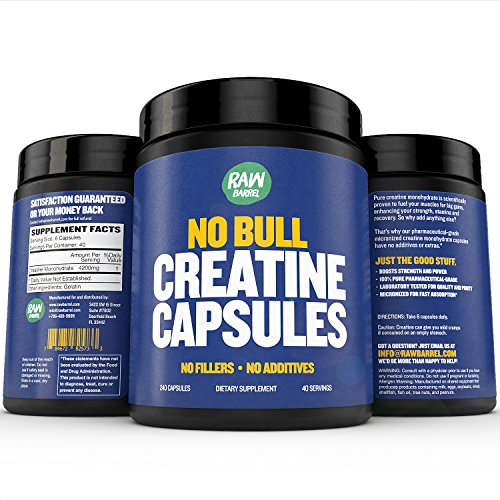 Raw Barrel's - Pure Creatine Monohydrate Capsules - 240 micronized pills - 700mg - SEE RESULTS OR YOUR MONEY BACK - With *FREE* Digital Guide by Raw Barrel