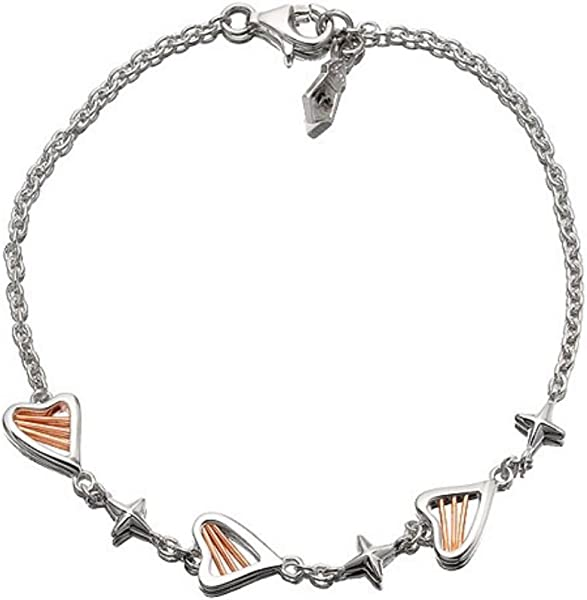 889957fffb9bf Clogau Womens Ladies 9ct Genuine Rose Gold And Silver Heartstrings  Bracelet  Amazon.co.uk  Jewellery