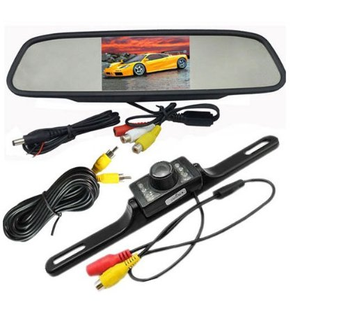 BW 4.3 Inch LCD Car RearView Mirror Monitor License Plate IR Night Reversing Parking Waterproof Camera system