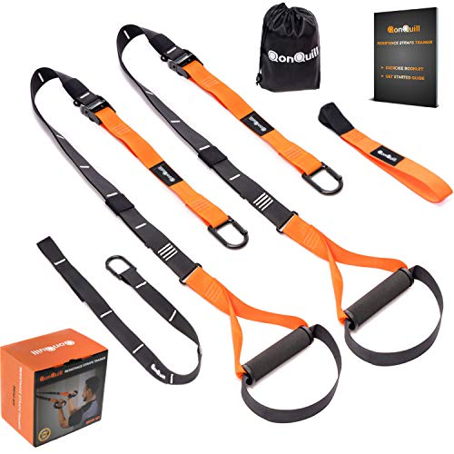 (QonQuill BodyWeight Fitness Training Kit | Resistance Straps Trainer for Full Body Strength| Multiple Anchoring Solutions with Easy Setup for Home, Gym & Outdoor Workouts)