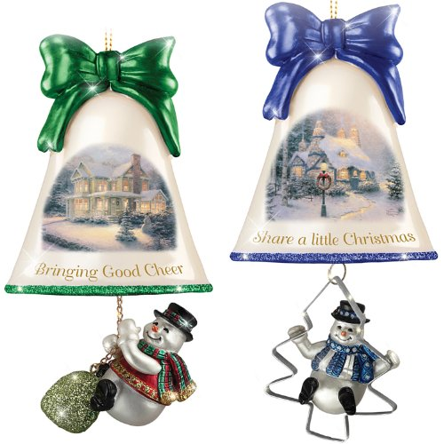 Christmas Ornaments: Thomas Kinkade Ringing In The Holidays Ornament Set: Set 7 by The Bradford Exchange
