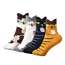 Jiayiqi Unisex Lovely Cat Pattern Socks Casual Crew Socks 4-Pack