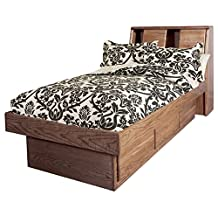 Forest Designs Bullnose Queen Bookcase Headboard & Two Eastern King Nightstands, Unfinished Alder