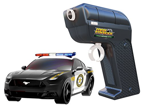 Max Traxxx R/C Tracer Racers High Speed Remote Control 1:64 Scale Officially Licensed Ford Mustang Police Car - Channel A