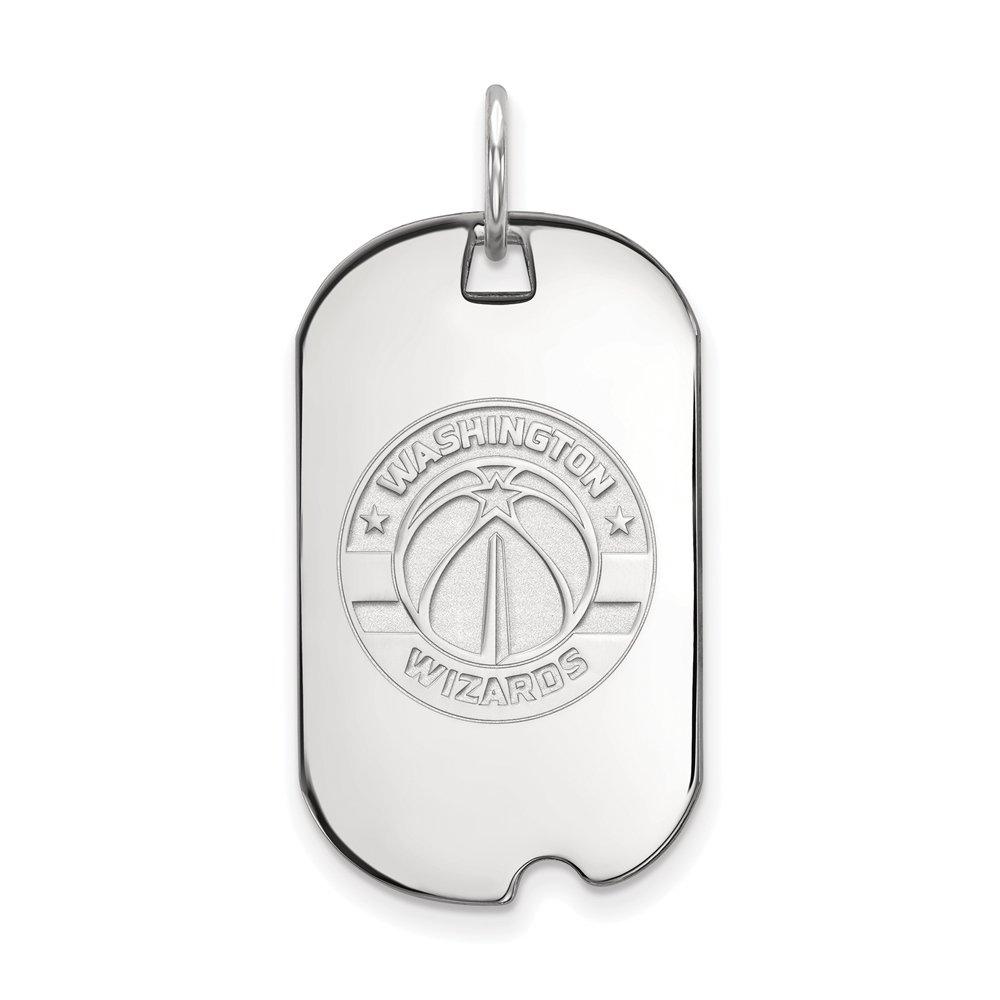 LogoArt NBA Washington Wizards Small Dog Tag Pendant in Rhodium Plated Sterling Silver