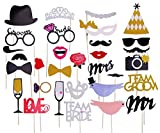 DECORA 31 Pieces Bling Hen party Photobooth Props for Wedding Bridal Shower Decor Mask