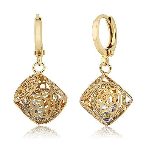 - Uniquely Designed White CZ Rose Encased Dangle Earrings