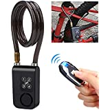 Wsdcam Bike Alarm Lock with Remote Universal Security Alarm Lock System Anti-Theft Vibration Alarm for Bicycle Motorcycle Door Gate Lock 110dB,31.49 inch Cable Length, IP55 waterproof Alarm Cable Lock