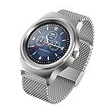 Doinshop Heart Rate Monitor Bluetooth Call Smart Watch Stainless Steel Band Wristwatch (Silver)