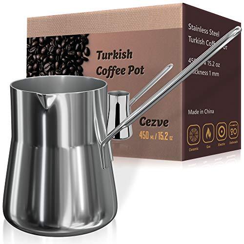 Turkish Coffee Pot, Warmer milk, Ibrik Cezve Arabic Briki Coffee Pot, Stainless Steel, 15 Ounce, Espresso Coffee Decanter (Best Turkish Coffee Pot)