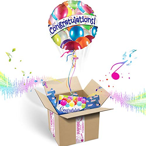 CONGRATULATIONS INFLATED HELIUM BALLOON CELEBRATION GIFT PACKAGE | Includes Coordinating Customizable Greeting Card | Floats Out of The Box and Plays a Happy Jingle When - Gift Box Balloons