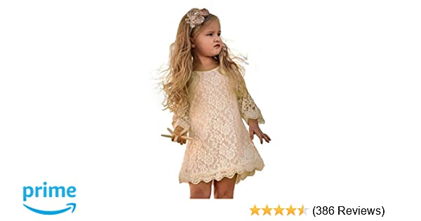 666471c2c Amazon.com: APRIL GIRL Flower Girl Dress, Lace Dress 3/4 Sleeve Dress:  Clothing