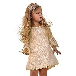 Best Epic Trends 51OnGkIToOL._SS300_ APRIL GIRL Flower Girl Dress, Lace Dress 3/4 Sleeve Dress