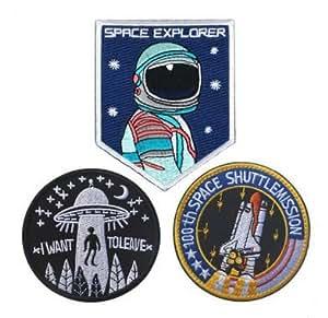3pcs Rare Vintage NASA Flight Space Research Embroidery Velcro on Patch (3pcs)