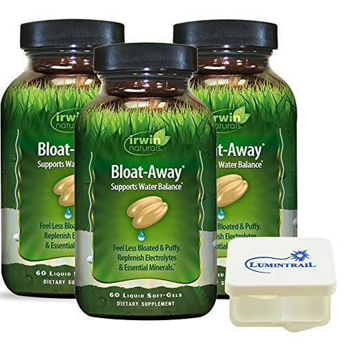 Irwin Naturals Bloat-Away Relief Water Balance Support Replenish Electrolytes & Essential Minerals - 60 (180 Total) Soft-Gels - 3 Pack Bundle with a Lumintrail Pill Case by Irwin Naturals (Image #6)