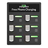Secure Cell Phone Charging Locker w/ 6 Digital Combination Locking Bays & Universal Charging Tips Included for All Devices - By ChargeTech - (Model: PL6) [Black]