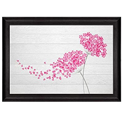 Magnificent Style, Quality Artwork, Illustration of Pink Flowers Being Blown Away Over White Wooden Panels Nature Framed Art