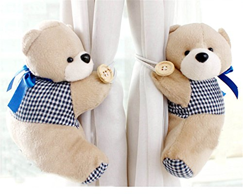 HEARTFEEL 1 Pair Bear Tiebacks Set Decorations Window Treatment Curtains Holdbacks Nursery Room Bedroom Animal Curtain Tieback Tie Back Decor Toy Holdbacks (Tan) by HEARTFEEL