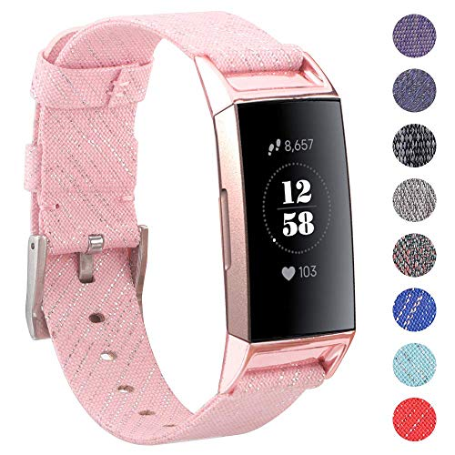 EZCO Compatible with Fitbit Charge 3 Bands, Woven Fabric Breathable Watch Strap Quick Release Replacement Wristband Accessories Man Woven Compatible with Charge 3 Fitness Smart Watch