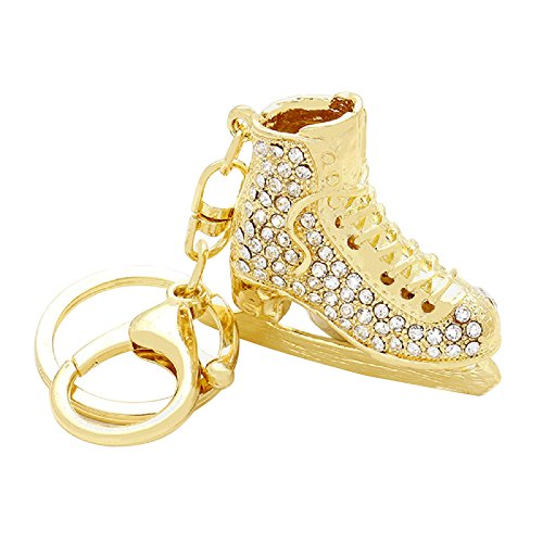 Rosemarie Collections Women's Crystal Ice Skate Key Chain Handbag Charm (Gold Tone) - Olympic Costumes Ideas