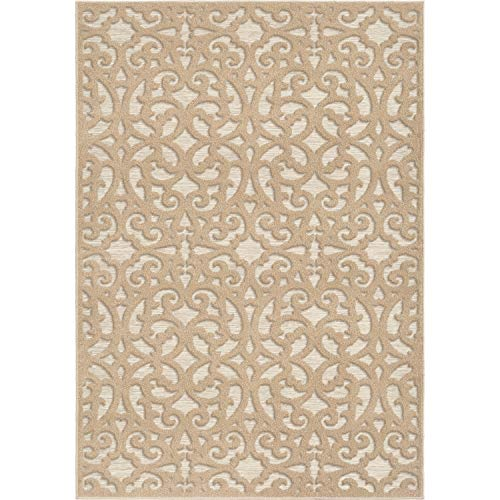 (Orian Sculpted 4701 Indoor/Outdoor High-Low Debonair Driftwood Area Rug, 5'2