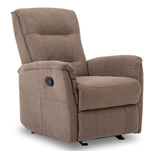 BONZY Glider Rocker Recliner Rocking Chair with Super Comfy Gliding Track Overstuffed Backrest, Comfy Recliner Sofa - Smoke Gray
