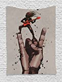 Fantasy Art House Decor Tapestry by Ambesonne, Musician Bass Guitarist with Rock N Roll Gesture Heavy Metal Image, Wall Hanging for Bedroom Living Room Dorm, 60WX80L Inches, Coral Brown