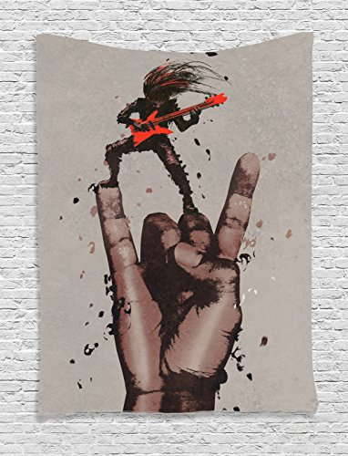 Fantasy Art House Decor Tapestry by Ambesonne, Musician Bass Guitarist with Rock N Roll Gesture Heavy Metal Image, Wall Hanging for Bedroom Living Room Dorm, 60WX80L Inches, Coral Brown ()