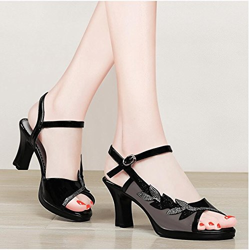 Moda Mujer verano sandalias confortables tacones altos,37 Rosa Black