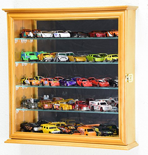 4 Adjustable Shelves Mirrored Hot Wheels / Matchbox / Diecast Cars / 1/64 Model Display Case Cabinet, Oak