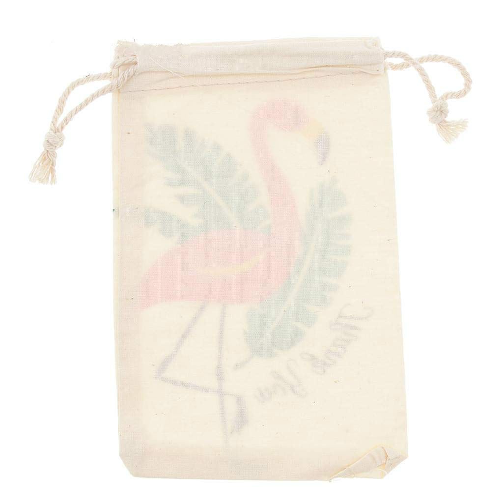OSAYES 10 Unids Bolsas de Cord/ón Flamingo Patr/ón Doble Cord/ón de Lino Bolsa de Almacenamiento Reutilizable Joyer/ía Bolsa de Boda Fiestas de Cumplea/ños Favor de Regalo