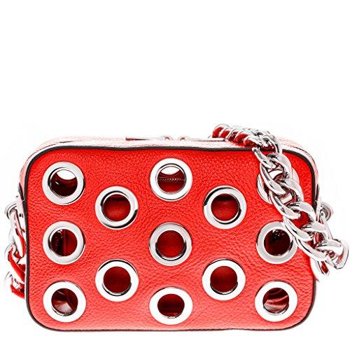 Prada Women's Top Chain Handle Grommet Boxy Bag Red