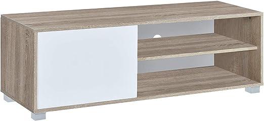 Myoshome - Mueble TV Salon Mesa para TV Color Roble y Blanco ...