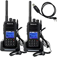 Retevis RT3 2 Way Radio DMR Digital/Analog UHF 400-480MHz DTMF 1000CH 2000mAh VOX Walkie Talkies with Earpiece(2 Pack) and Programming Cable