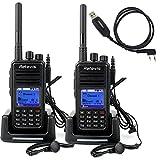 Retevis RT3 DMR Digital/Analog 2 Way Radio UHF 400-480MHz 1000CH 5W VOX Message Digital Radio(2 Pack) and Programming Cable