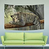 Large Tapestry Tiger Animal Jungle Rainforest Exotic World Tapestry Wall Hanging Art Home Decor for Living Room Bedroom Bathroom Kitchen Dorm 90 x 60 Inches