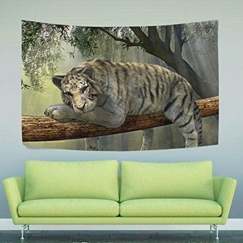 Animal Pictures Rainforest (WIHVE Tiger Animal Jungle Rainforest Exotic World Wall Hanging Tapestry with Romantic Pictures Art Nature Home Decorations for Living Room Bedroom Dorm 90x60 Inch)