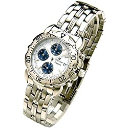 Oskar-Emil Classic Chrongraph Caesium 1119G Men's Quartz Watch Black Dial Analogue Display Stainless Steel Gold Plated Bracelet RRP $425