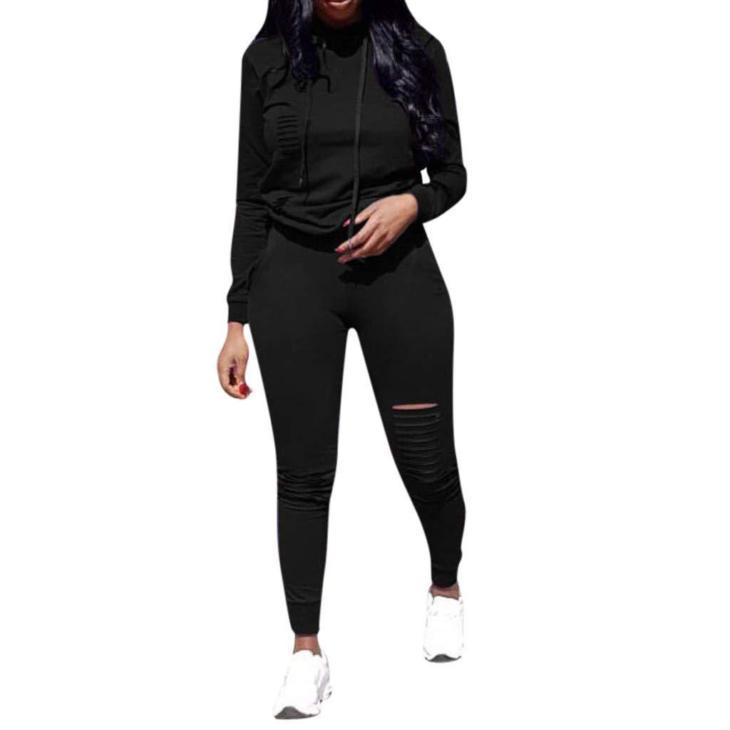 DRAGONHOO Funny t Shirts for Men Fashion Womens Long Sleeve Hole Pocket Hoodies Drawstring Pants Loose Tops Set Coat Hooks