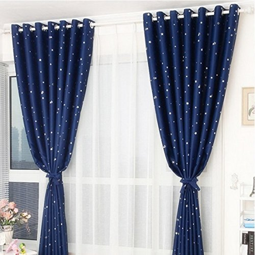 Blackout Curtain, Didihou 1 Panel Star Print Darkening Energy Saving Thermal Insulated Grommet Drape Blackout Curtain 98 by 39 inch (Navy Blue)