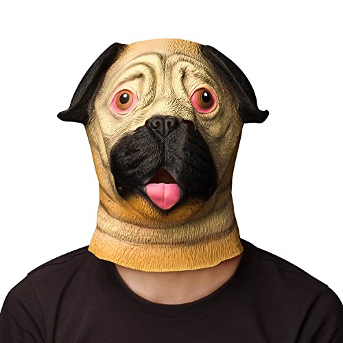 Pugs Wearing Halloween Costumes (Ylovetoys Latex Animal Head Mask Pug Mask Animal Dog Head Mask for Halloween Costume Party)